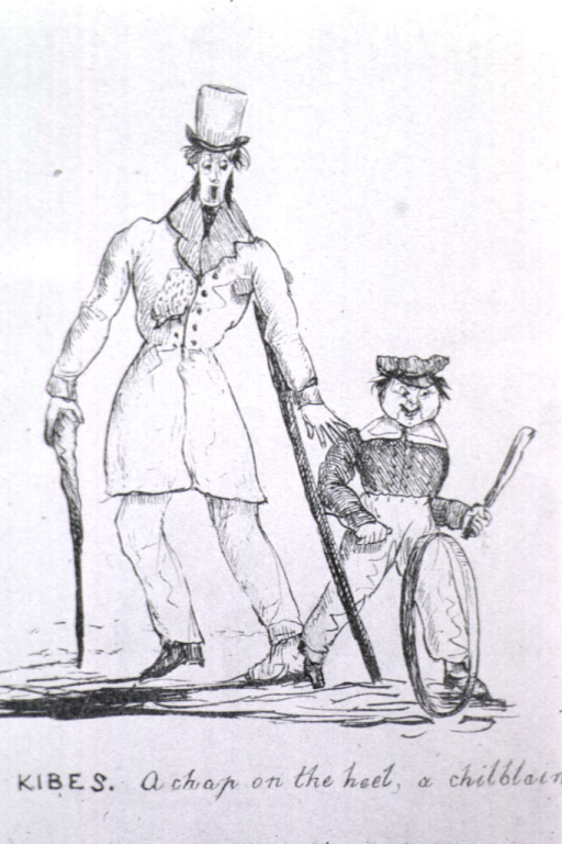 <p>A grinning child playing hoop and stick steps on the left foot cast of a man walking with a crutch and walking stick.  The man reacts in horror.</p>