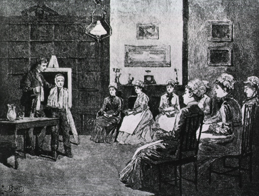 <p>Interior view of the &quot;parlor in the Bellevue Hospital Nurses' Home&quot; where a demonstration on proper bandaging techniques is taking place; a man and a young boy are standing before a group of nurses seated in a semicircle.</p>