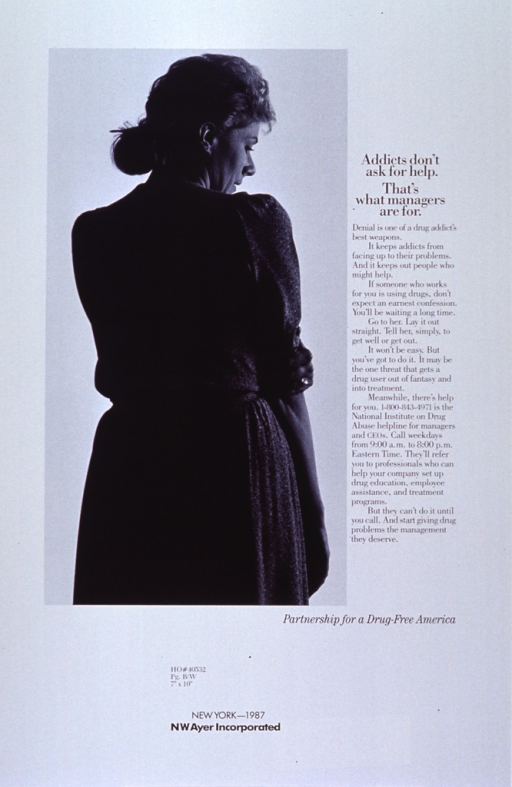 <p>White poster with black lettering.  Title near top of poster on right side.  Caption below title.  Left side features a reproduction of a b&amp;w photo of a woman.  The woman stands with her back to the viewer, head turned slightly so one side is visible.  She clutches one arm at the elbow.  Poster may be a proof copy as there appear to be codes from the advertising agency below the photo.</p>