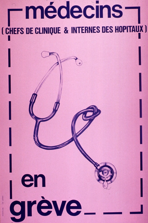 <p>Pink poster with blue lettering.  Initial title words at top of poster.  Visual image is an illustration of a stethoscope.  The diaphragm of the stethoscope features an eye from which a tear falls.  Remaining title text below illustration.</p>