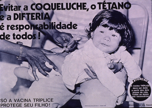 <p>Blue and white poster.  Title at top of poster.  Visual image is a b&amp;w photo reproduction featuring a baby receiving an injection.  Caption in lower left corner indicates that the triple vaccine will protect children.  Note in lower right corner states that the triple vaccine should be given in the first two months of life.  Publisher and sponsor information at bottom of poster.</p>
