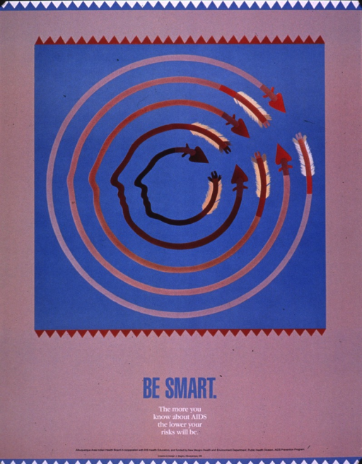<p>Predominantly taupe poster with multicolor lettering  Visual image is an illustration incorporating five arrows that almost form concentric circles.  The innermost arrows undulate slightly and no arrows connect completely.  Title and caption below illustration.  Publisher and sponsor information at bottom of poster.</p>