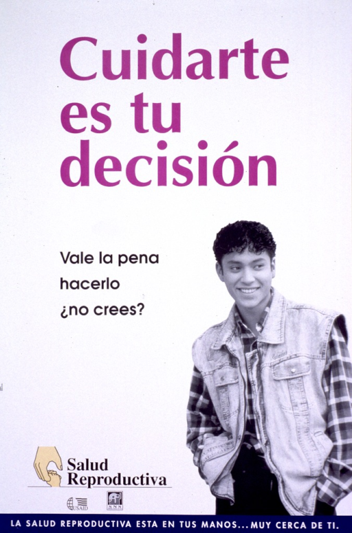 <p>Predominantly white poster with multicolor lettering.  Title at top of poster.  Visual image is a b&amp;w photo reproduction featuring a smiling teenage boy.  Publisher and sponsor information in lower left corner.  Note at bottom of poster indicates that reproductive health is &quot;in your hands&quot; and urges care.</p>