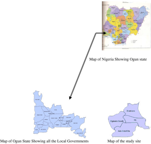 The Map Of Nigeria And Ogun State Showing Study Site