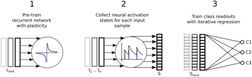 Three step process describing a reservoir computing model extended by having the recurrent connections adapted with unsupervised plasticity in a pre-training phase. Firstly, input samples I are presented in random order while the resulting neural activity drives synaptic adaptation under plasticity. Secondly, each input sample is presented in sequence with the resulting neural activity decoded into a series of state vectors S. Finally, the state vectors are used as the input to train a set of perceptron readouts, one to recognize each class of sample, Cx.