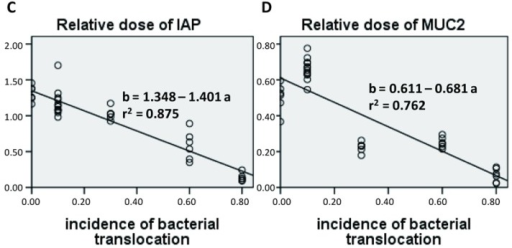 Regression analysis of bacterial translocation and some other defensive components. (A) Number of goblet cells; (B) Relative dose of lysozyme; (C) Relative dose of intestinal alkaline phosphatase (IAP); (D) Relative dose of mucin 2 (MUC2). n = 36 for each analysis.