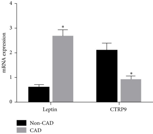 mRNA expressions of leptin and CTRP9 in the EAT. CTRP9: C1q/TNF-Related Protein-9; non-CAD: noncoronary artery disease; CAD: coronary arterial disease; EAT: epicardial adipose tissue volume; ∗P < 0.05.