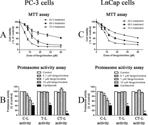 Inhibitive effects of fangchinoline on cell proliferation and cellular proteasome activities of PC-3 cells and LnCap cells.(A) Cell viability (MTT assay result) of PC-3 cells treated with various concentrations of fangchinoline for 24, 48 or 72 h. Data were statistical results of three independent experiments. (B) Cellular proteasome activities of PC-3 cells treated with 0.1% DMSO or fangchinoline at different concentrations for 24 h. (C) Cell viability (MTT assay result) of LnCap cells treated with various concentrations of fangchinoline for 24, 48 or 72 h. (D) Cellular proteasome activities of control PC-3 cells treated with 0.1% DMSO (solvent control) or fangchinoline at different concentrations for 24 h. Data were statistical results of three independent experiments. *p<0.05 vs. solvent control. Carfilzomib was used as positive control.