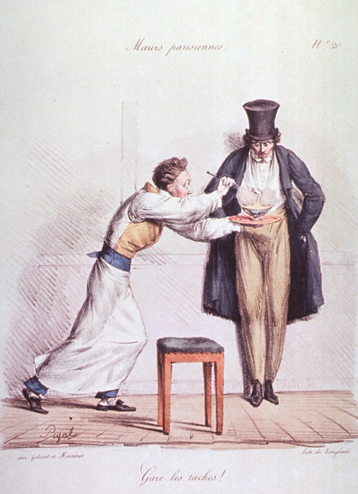 <p>Caricature:  A waiter carrying a steaming bowl of soup on a tray, passes a man standing against a wall.</p>