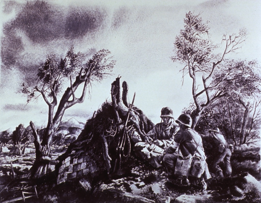 <p>Showing a wounded soldier receiving first aid.</p>