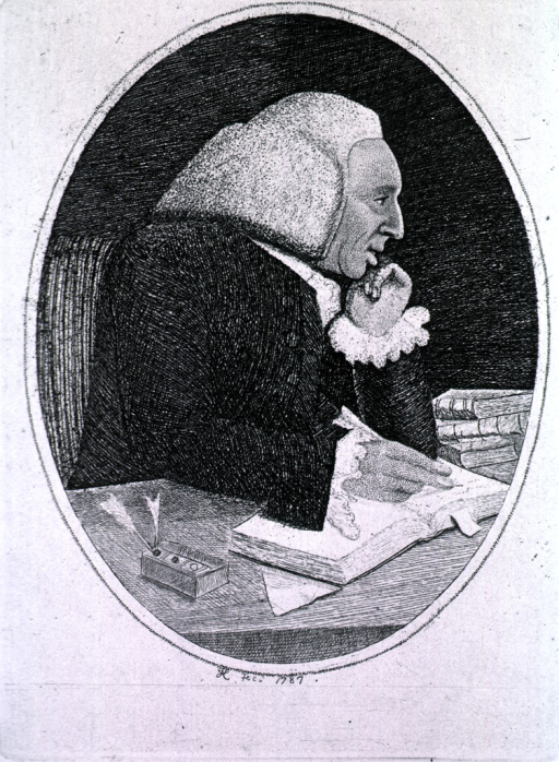 <p>Half-length, right pose, seated at desk writing; in oval.</p>