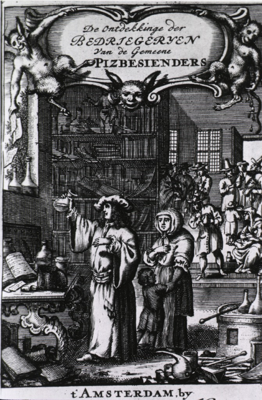 <p>Interior view: a woman with a young child are standing next to a physician who is holding a urine flask; in the background other physicians? are holding flasks; a satyr and a monkey at the top of the page are indicative of the fallacy of the scene.</p>