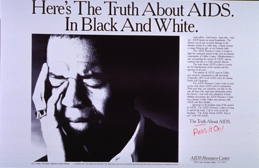 <p>White poster with black and red lettering.  Title at top of poster.  Visual image is a black and white photo reproduction of a man resting his head in his hand.  Lengthy text on right side of poster discusses AIDS in the minority community.  Text also describes services provided by the AIDS Resource Center.  Caption below text.  Publisher information in lower right corner.</p>