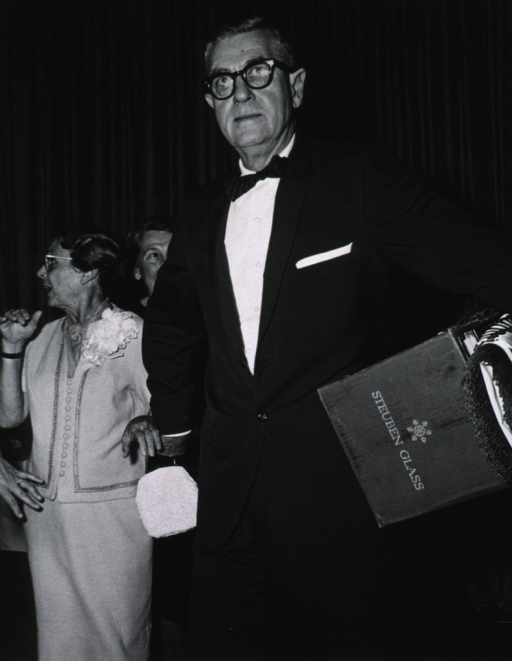 <p>Dr. James Shannon and his wife leave the retirement party, given in his honor, Sept. 4, 1968.</p>