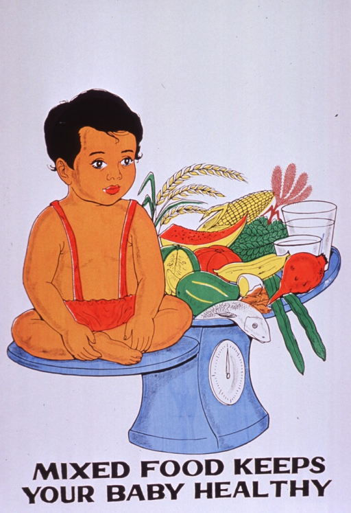 <p>Predominantly white poster with black lettering.  Visual image is a color illustration of a baby and a large plate of food balanced on a scale.  The food includes fish, an egg, fruit, vegetables, and grains.  Title at bottom of poster.</p>