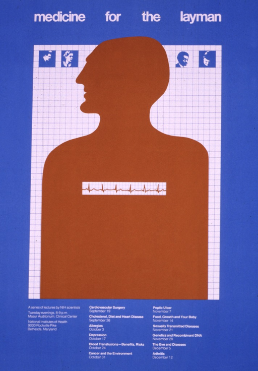 <p>The poster shows the profiled outline of a  human superimposed on a piece of graph paper.  Across the chest is a strip of a printout from an EKG.  Dates (Sept. 19-Dec. 12), times, and locations are listed.  Topics listed include: Cardiovascular surgery; Cholesterol, diet, and heart disease; Allergies; Depression; Blood transfusions--benefits, risks; Cancer and the environment; Peptic ulcer; Food, growth, and  your baby; Sexually transmitted diseases; Genetics and recombinant DNA; The eye and diseases; and Arthritis.</p>