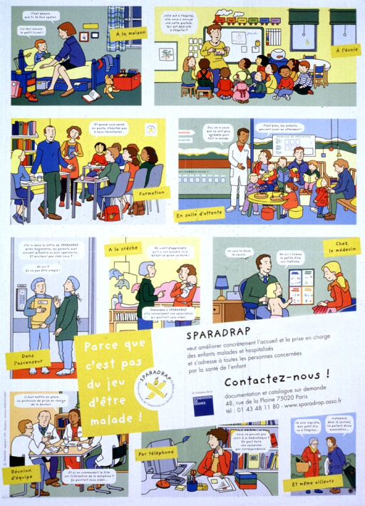 <p>Multicolor poster with black and white lettering.  Poster features several illustrations that deal with the welfare of sick or hospitalized children.  A mother talks to a child about impending surgery; a teacher speaks with her class about a hospitalized student; a doctor and mother talk about having toys in a waiting room; two doctors discuss pediatric hospital practices in another country, etc.  Title and caption in lower portion of poster, along with contact information to receive a catalog.</p>