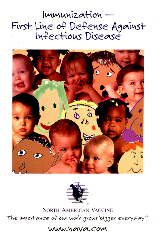 <p>Predominantly white poster with black and blue lettering.  Title at top of poster.  Visual image is an array of babies' faces, constructed from color photo reproductions and illustrations.  Publisher information and note below image.</p>