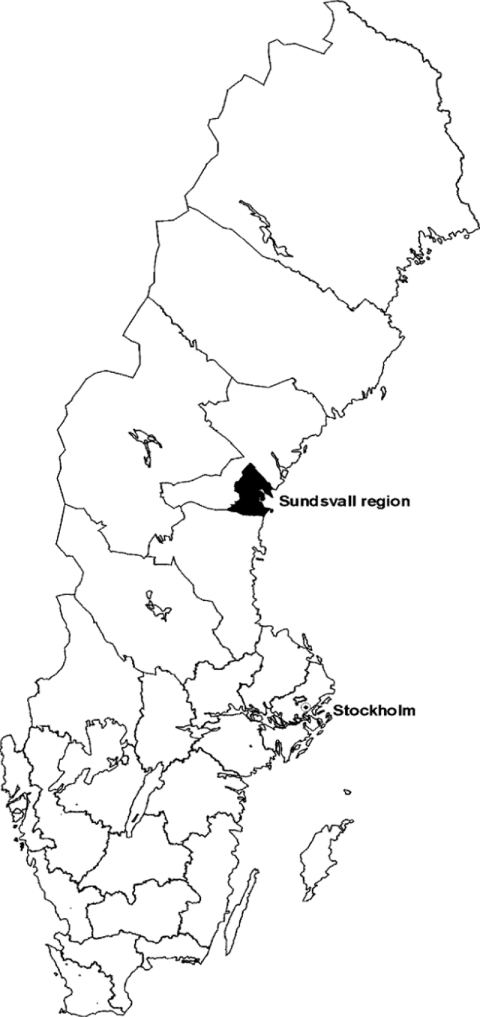 Sweden, showing the location of the Sundsvall regionSource: Demographic Data Base (Umeå, Sweden).