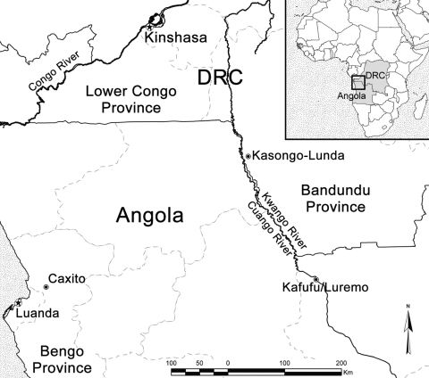 Locations in Democratic Republic of Congo (DRC) (Kasongo-Lunda) and Angola (Kafufu/Luremo) where 3 patients with Buruli ulcer were detected.