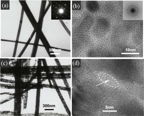 (a) TEM images of the precursor nanowires, (b) HRTEM image taken on the single precursor nanowire, (c) TEM and (d) HRTEM image of highly porous CdO nanowires. Reprinted with permission from [80]. Copyright (2008) IOP Publishing Ltd.