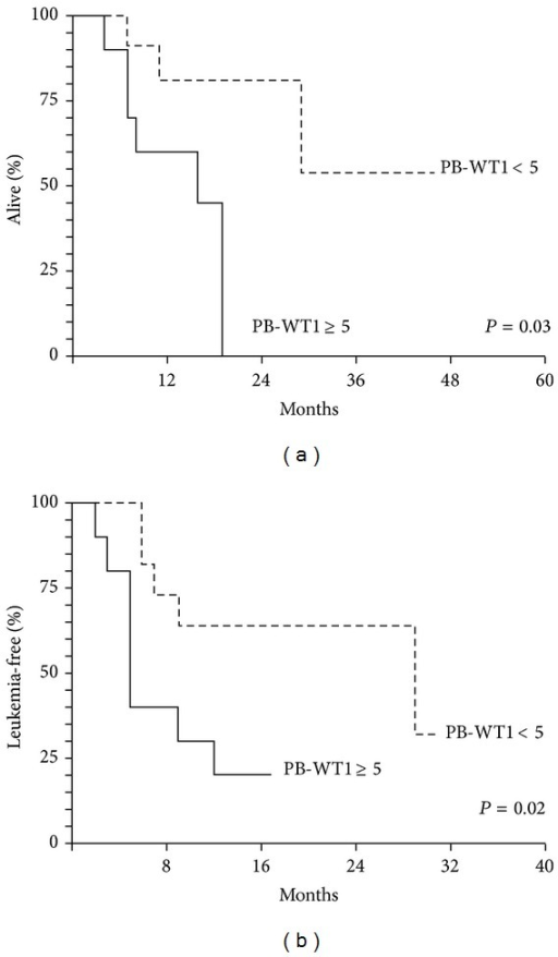 (a) OS of the 24 AML patients according to PB-WT1 level before allo-SCT. (b) LFS of the 24 AML patients according to PB-WT1 level before allo-SCT.