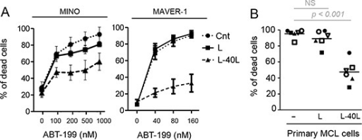 CD40 stimulation resulted in strong resistance to ABT-199(A) MCL cell lines were cultured alone or on either parental fibroblast L or CD40L-expressing fibroblasts L (L-40L) for 24 hours before being exposed to ABT-199. Cell death was assessed in triplicate by using Apo-2.7 staining. (B) Primary MCL cells were cultured alone or on either L or L-40L cells for 24 hours then exposed to 25 nM ABT-199 for 48 hours. Apoptosis was determined by Apo2.7 and CD19 staining.