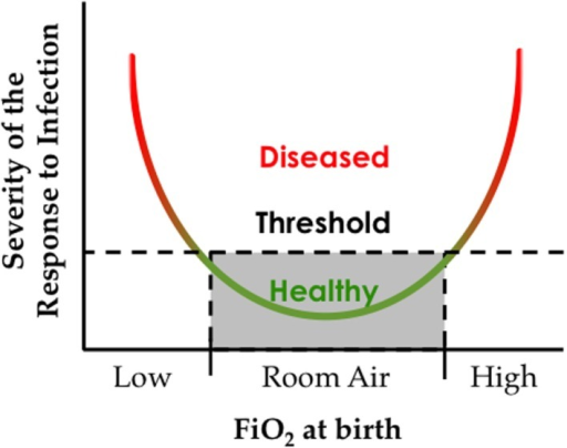 The oxygen environment at birth affects the severity of respiratory viral infection later in life. Hypothetical graph depicting how exposure to low or high inspired oxygen at birth can increase respiratory morbidity following a respiratory viral infection.