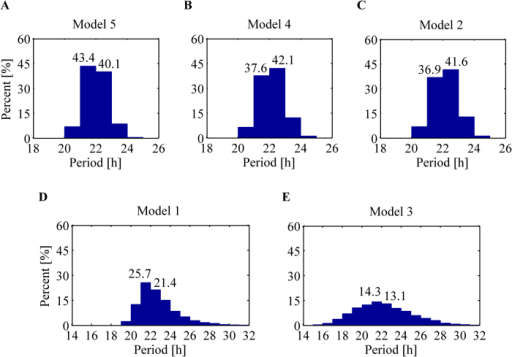 Histograms of period distribution obtained by parameter random perturbations.Top panel displays more robust models corresponding to (A) a mixed model of a Goodwin oscillator combined with Model 1, (B) a Goodwin oscillator, and (C) a negative-positive feedback loop with autocatalysis. Bottom panel displays less robust models corresponding to (D) a substrate-depletion oscillator with a reversible reaction, and (E) a negative-positive feedback loop with inhibitory degradation.