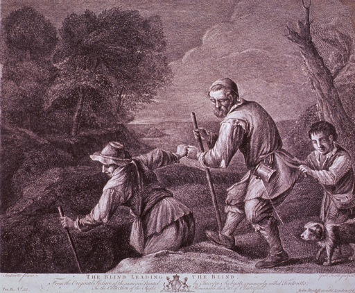 <p>A blind man is leading another blind man and a blind boy through the countryside; a dog is walking next to the boy.</p>