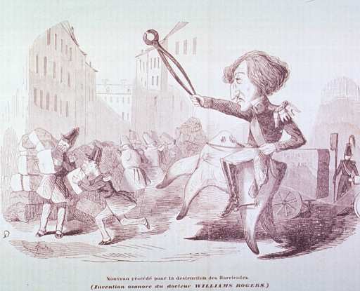 <p>William Rogers, holding pincers and riding on a large tooth, directs the military in the demolition of the Parisian Barricades by having the soldiers eat them.</p>
