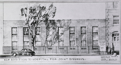 <p>Photoprint of architect's drawing of the new Radiation Therapy Building which also housed the School of Pratical Nursing; view is from the street of a two story brick building.</p>