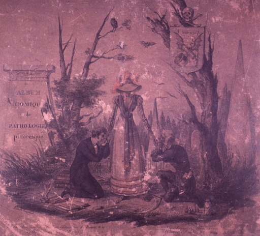 <p>Two men are kneeling, each kissing a hand of an elegantly dressed female skeleton with a wide brim hat. At the feet of a man are open and stacked books; at the feet of the another man is a collection of  bottles. A skull and crossbones is in a tree.  In the background are tombstones.</p>