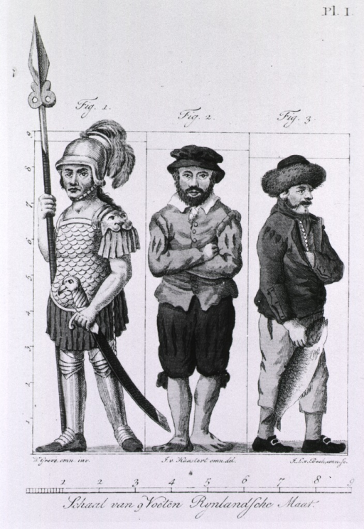 <p>Three very tall men wearing various costumes which are meant to indicate nationality.</p>