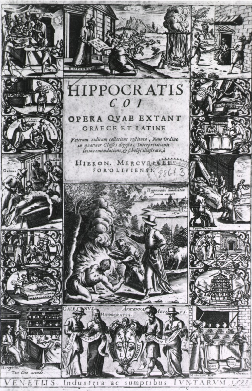 <p>Several vignettes on title page showing the various roles of a physician, from instruction on proper diets to the prescription of medicines, from the use of herbs to surgery.</p>