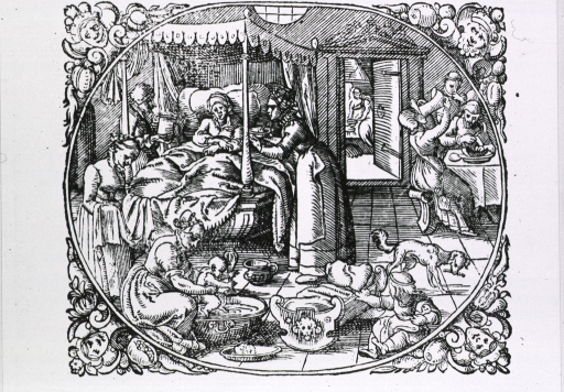 <p>Bedroom scene: a woman is being attended by nurse midwives; in the foreground an infant is being bathed, a woman stands ready with a towel, and a child is playing with a cradle; in the background men and women are eating and drinking.</p>