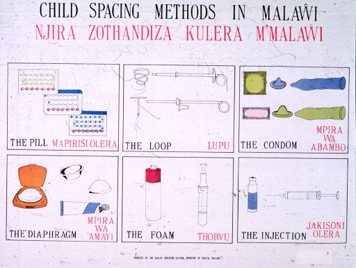 <p>White poster with black and pink lettering.  Title at top of poster in both English and Chichewa.  Visual image is a six-panel series, showing illustrations of contraception methods including pill, loop (IUD), condom, diaphragm, foam, and injection.  Illustrations are labeled in English and Chichewa.  Publisher information at bottom of poster.</p>