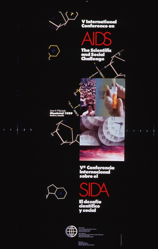 <p>Black poster with white and red lettering.  English itle at top of poster.  Visual image includes illustrations of chemical structures scattered across poster and a montage of four color photo reproductions.  Photos show a crowd of people, a test tube, clocks superimposed on each other, and a cloudy sky.  Note to the left of the montage.  Spanish title appears in lower portion of poster.  Logo and sponsor and  publisher information at bottom of poster.</p>