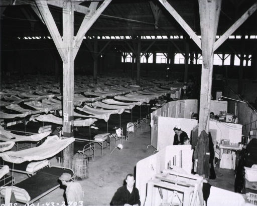 <p>Rows of hospital beds, some of which are occupied by wounded servicemen, are shown in a warehouse-like room.  In the foreground, female nurses and military personnel stand or sit in makeshift booths.</p>