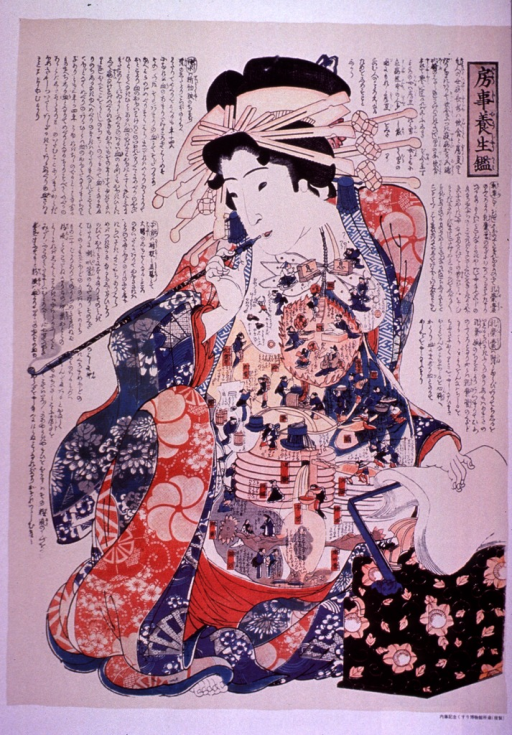 <p>Multicolor poster with black lettering.  All text in Japanese (?) characters.  Visual image is a color illustration of a woman smoking a long pipe.  Her gown is open, revealing her chest and stomach.  These are covered with fanciful illustrations of bodily processes; people work at little machines, till and harvest in fields, and appear to speak and pray.  The woman may be pregnant, as there is a shadow in what appears to be her uterus.</p>