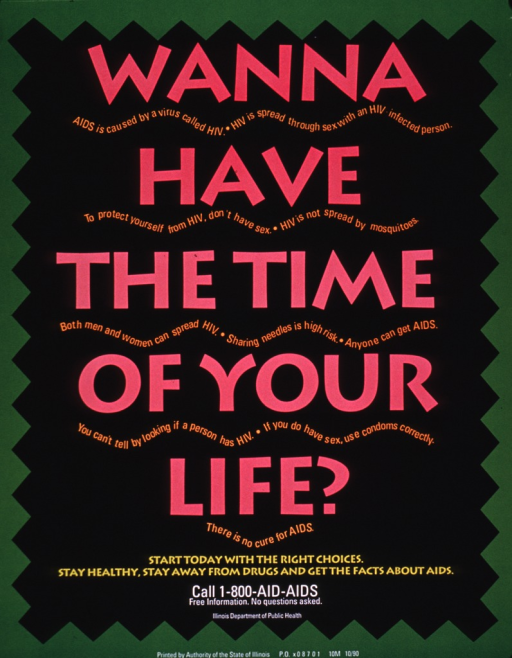 <p>Predominantly black and green poster with multicolor lettering.  Poster is all text.  Title dominates poster.  Additional facts about AIDS and how the disease is transmitted appear in small print below each line of the title.  Note and publisher information at bottom of poster.</p>