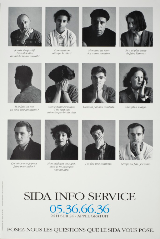 <p>Black and white poster with black lettering, with only the hotline telephone number set in blue.  The poster is illustrated with twelve black and white photographs of people of both sexes, different sexual orientations, and various age groups and ethnicities.  Beneath each photo is either a question or a statement relating to AIDS or HIV-status (e.g., &quot;How do you get AIDS?&quot;; &quot;My friend died a week ago.&quot;; &quot;I no longer want to have sex.&quot;; &quot;If I am tested, will it be anonymous?&quot;; &quot;My son is getting thin.&quot;; &quot;What can I do to help?&quot;, etc.).</p>