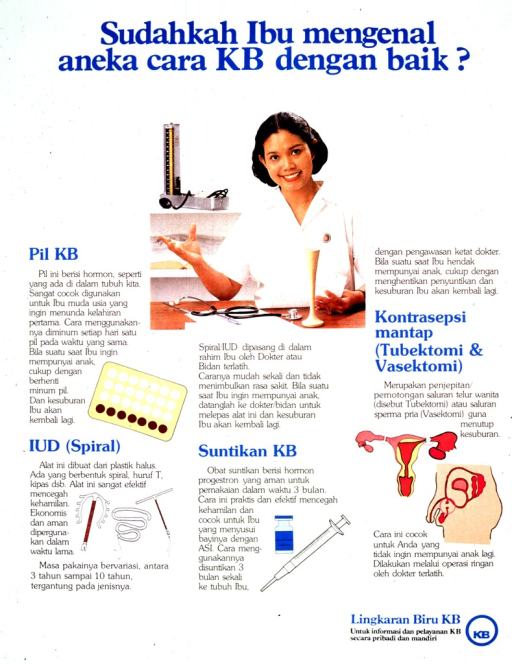<p>White background with blue lettering. Most of the poster is a series of photos of contraceptive methods with each method having a title, a descriptive illustration, and then a paragraph description. In the upper third of the poster is a color photograph of a female doctor in a white uniform, facing the camera and smiling. She is sitting at a desk, and has a stethoscope lying on the desk in front of her. Organizational logo is at the bottom of the poster, on the right.</p>