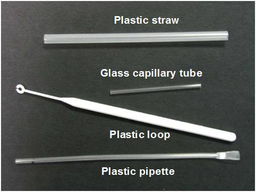 Blood collection and transfer devices. The plastic straw and plastic loop collect a film of blood by touching the finger prick; the glass tube collects blood by capillary action, while the plastic pipette aspirates blood similar to a conventional dropper.