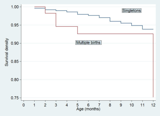 Probability of survival before 12 months of age by birth status, Nigeria 2003.