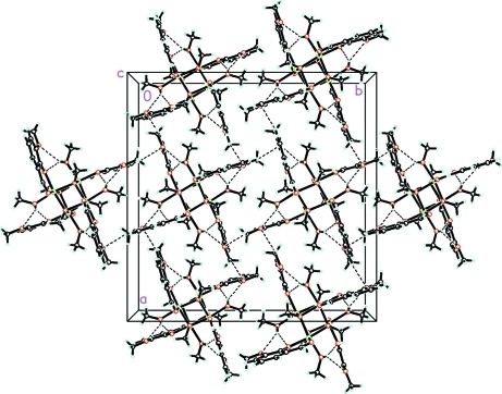The molecular packing for {Ni-(µ3-OCH3)[o-OC6H3(CH3O)CHO](CH3OH)}4 viewed down the c axis. Intra- and intermolecular interactions are shown by dashed lines.