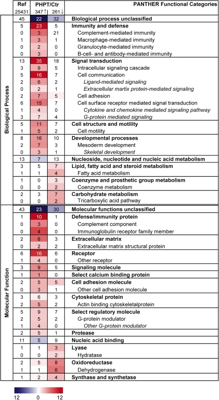 Functional categorization of differentially expressed genes (Biological Process and Molecular Function).Gene expression in subcutaneous adipose tissue in patients with primary hyperparathyroidism was compared to a control group. Over-represented Biological Processes categories and Molecular Function categories among the differentially expressed genes (q-value<0.05) were found using PANTHER. Bonferroni correction for multiple testing was done and a p-value<0.01 was used as inclusion criterion for categories. The colour intensity displays the statistical significance (−log p-value) of over- and under-represented PANTHER functional categories. Numbers in the table presents the percentage of genes mapping to a given category, e.g. 23% of the 347 up-regulated genes belonged to the Biological Process category Immunity and defense. The overall distribution of a term among all human NCBI genes (25,431) are stated in the first column, e.g. 5% of the genes are expected to map to the Biological Process category Immunity and defense, hence this category is significantly over-represented among the up-regulated genes in patients with PHPT compared to controls. Ref, Reference (based on all human NCBI genes); PHPT patients with primary hyperparathyroidism; Ctr, patients operated for benign thyroid disease without known parathyroid or inflammatory disease; Arrow up, up-regulated/higher expressed genes in patients with PHTP compared to controls; Arrow down, down-regulated/less expressed genes in patients with PHPT compared to controls.