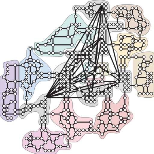 The universe map of the massive multiplayer online game Pardus.The universe of Pardus can be represented as a network24 with N = 400 nodes, called sectors (playing the role of cities), and K = 1160 links. Sectors are organized into 20 different regions, called clusters, shown in the figure as different colour-shaded areas. There is no explicit set of goals in the game. Players are free to interact in a number of ways to e.g. increase their virtual wealth or status. Players move between sectors to interact with other players, e.g. to trade, attack, wage war, or to explore the virtual world.