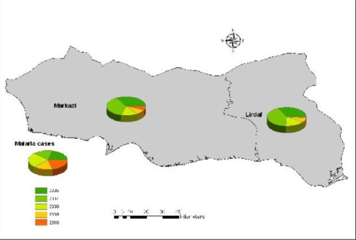 Malaria distribution map, Jask County, 2006–2010