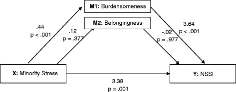 Results of a meditational model showing associations among minority stress, the proposed mediators (perceived burdensomeness and thwarted belongingness) and NSSI